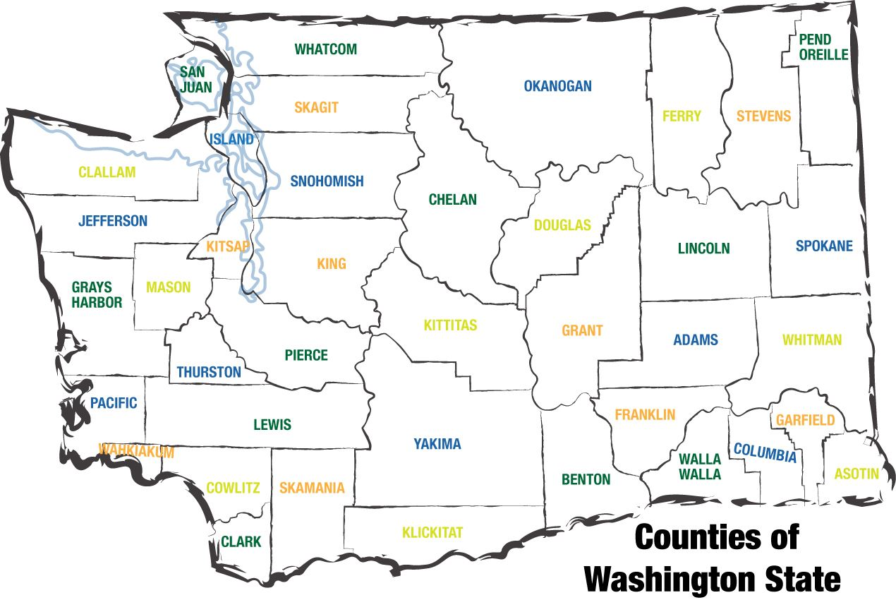 Washington State Counties Map County Map | Washington ACO